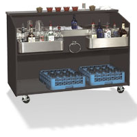Portable Bar with Stainless Steel Work Top