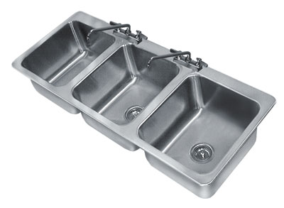 click to enlarge - Three Compartment Kitchen Sink