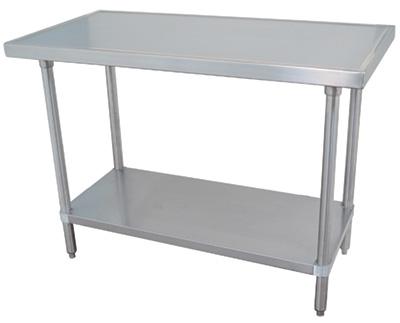 Work Table 60 W X 24 D 14 Gauge 304 Stainless Steel Top With Countertop Non Drip Edge Adjule Undershelf Legs
